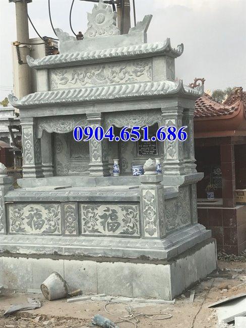 Xây mộ đôi hai mái đá xanh rêu Thanh Hóa đẹp tại Đắc Nông