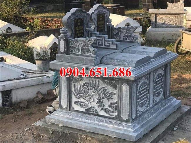 Địa chỉ bán, xây mẫu mộ đôi đá khối tự nhiên đẹp tại Quảng Nam giá rẻ
