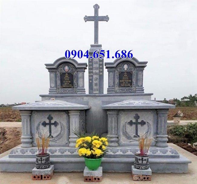 Bán mẫu mộ đôi công giáo đá xanh Ninh Bình tại Quảng Nam