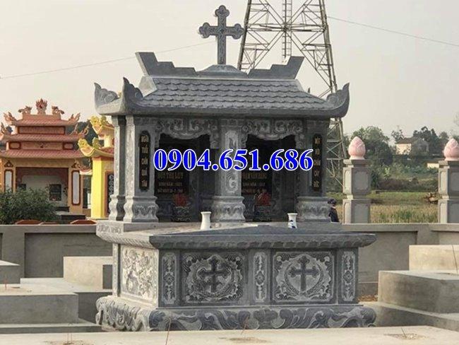 Làm mộ đôi công giáo đá tự nhiên đẹp ở Quảng Nam