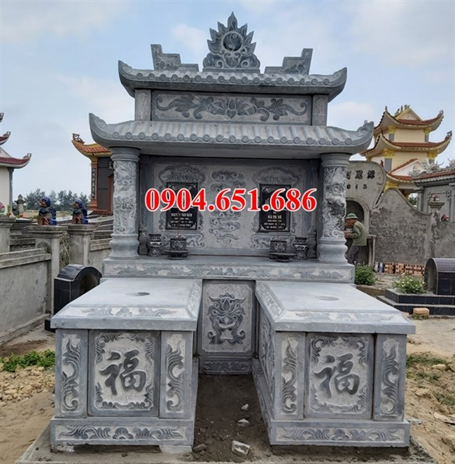 Mẫu mộ đá đôi hai mái thiết kế đẹp bán tại Quảng Ngãi