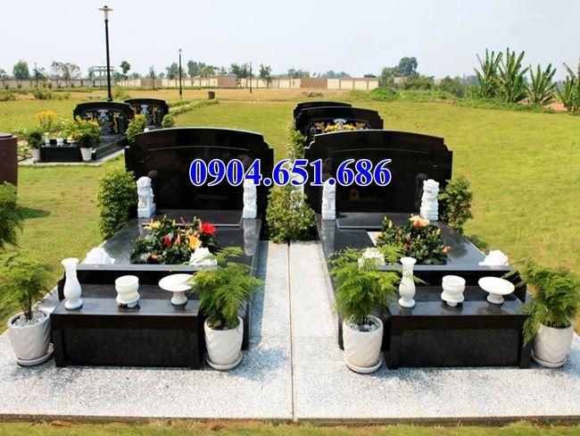 Mẫu mộ đôi đá granite kim sa Hải Phòng đẹp