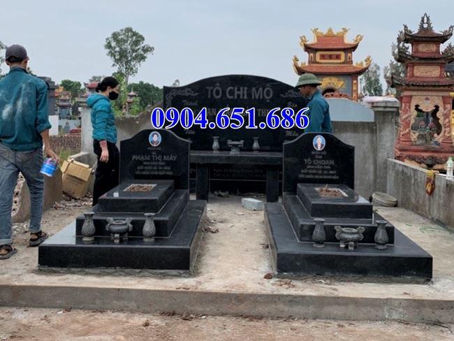 Mẫu mộ đôi đá hoa cương granite kim sa đơn giản đẹp tại Quảng Nam