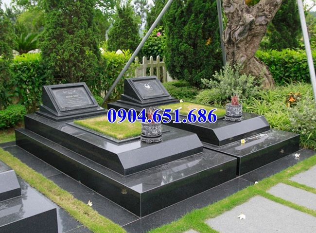 Mẫu mộ đôi đá hoa cương granite kim sa đẹp