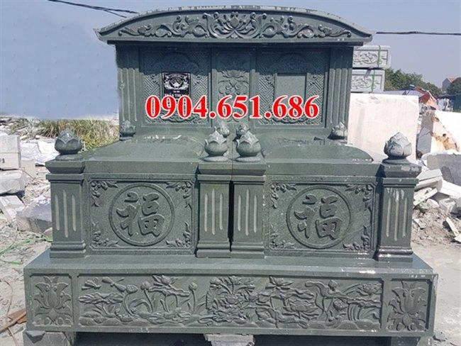Mẫu mộ đôi gia đình đá xanh rêu đẹp
