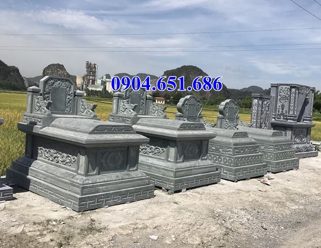 Mẫu mộ đôi không mái đá xanh rêu đẹp