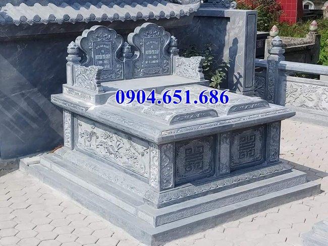 Xây mộ đôi gia đình đá khối tự nhiên đẹp ở Quảng Ngãi