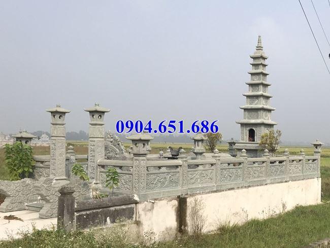 Khu mộ tháp phật giáo thiết kế xây bằng đá xanh rêu đẹp