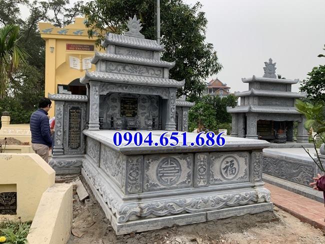 Mẫu mộ đá đôi ba mái xây để tro cốt kích thước chuẩn phong thủy