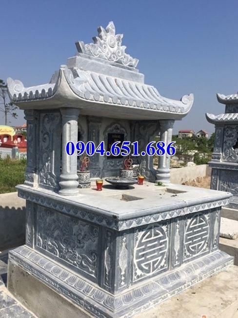 Mẫu mộ đá đôi gia đình Điện Biên một mái che đẹp