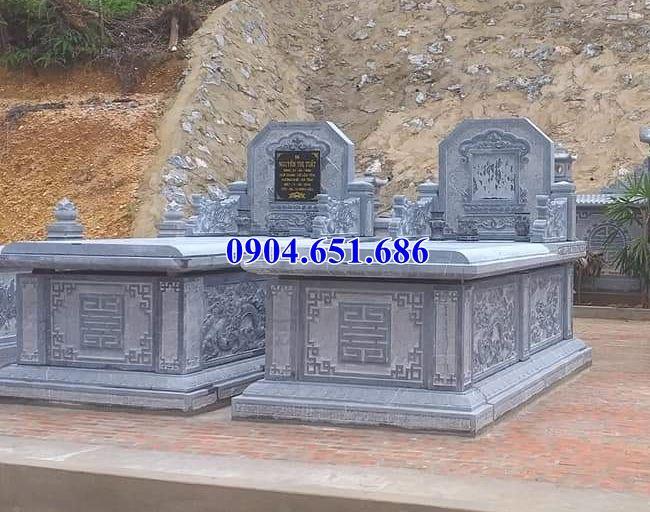 Mẫu mộ đá đôi tam sơn không mái kích thước chuẩn phong thủy