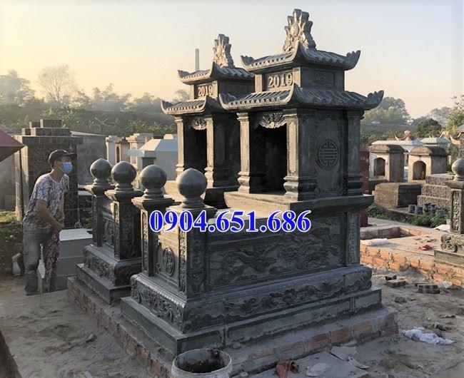 Mẫu mộ đôi đá xanh rêu Thanh Hóa thiết kế hai mái đẹp