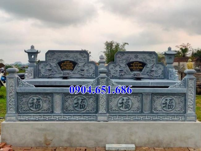 Mẫu mộ đôi Hòa Bình không mái thiết kế đơn giản