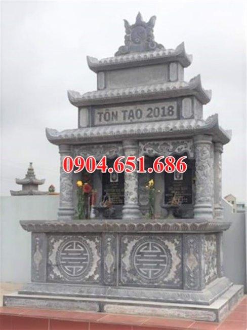Mẫu mộ đôi ba đao đá khối tự nhiên giá rẻ lắp đặt ở Hà Nội