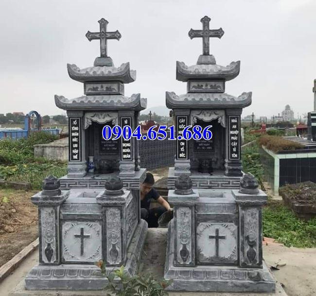 Mẫu mộ đôi công giáo đá mỹ nghệ Ninh Bình bán tại Điện Biên giá rẻ