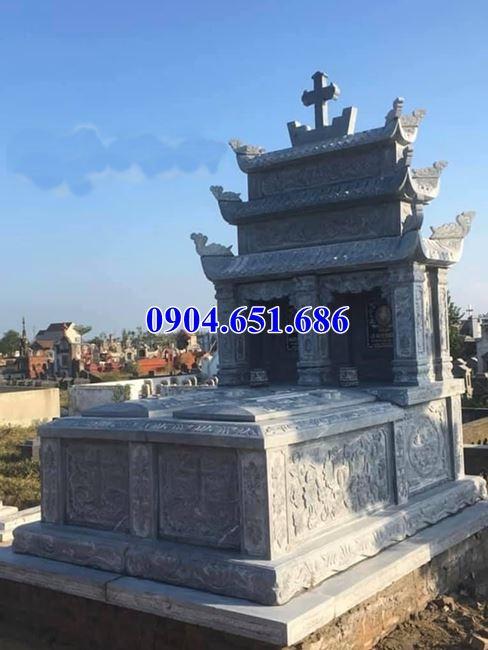 Mẫu mộ đôi công giáo đá xanh Thanh Hóa thiết kế ba mái đẹp