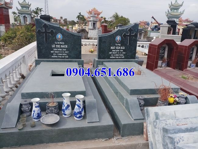 Mẫu mộ đôi công giáo đá xanh rêu đơn giản đẹ