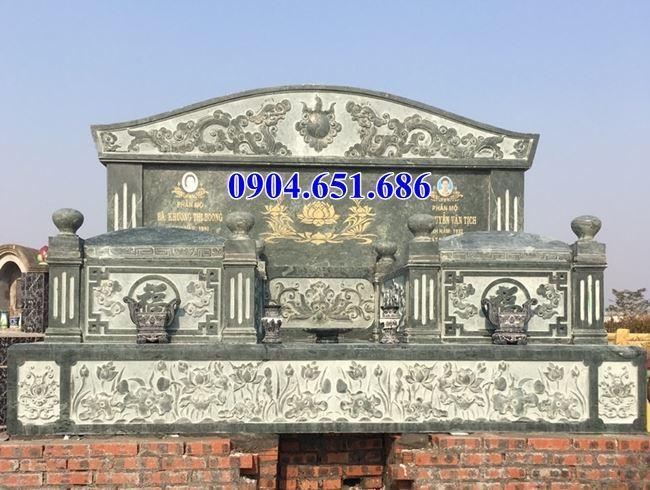 Mẫu mộ đôi gia đình bằng đá xanh rêu Thanh Hóa giá rẻ