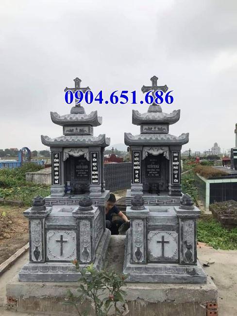 Mẫu mộ đôi gia đình công giáo Lai Châu đá xanh đẹp