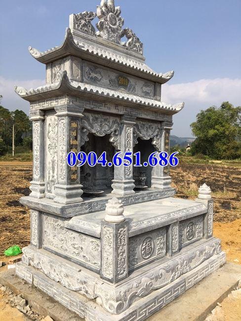 Mẫu mộ đôi gia đình hai mái đá khối tự nhiên đẹp giá rẻ