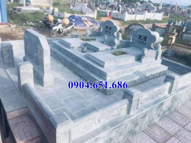 Mẫu mộ đôi gia đình tam cấp đá khối tự nhiên đẹp