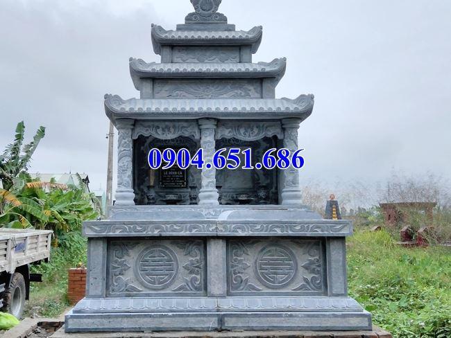 Mẫu mộ đôi gia đình thiết kế ba mái đá khối tự nhiên đẹp