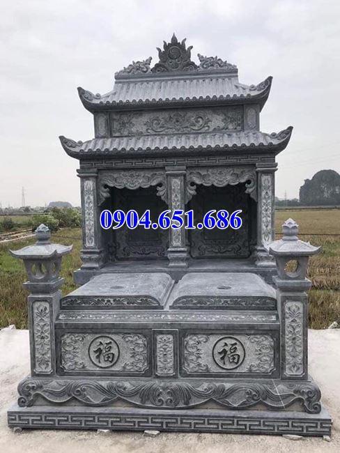 Mẫu mộ đôi gia đình thiết kế hai mái đá khối tự nhiên đẹp