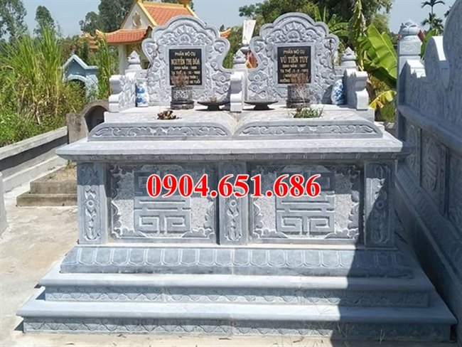 Mẫu mộ đôi tam sơn không mái đá Ninh Bình đẹp