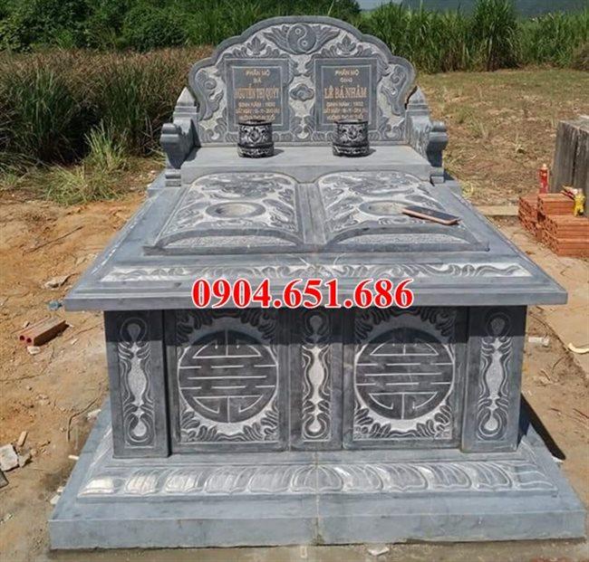 Mẫu mộ đôi tam sơn không mái đá xanh Thanh Hóa đẹp