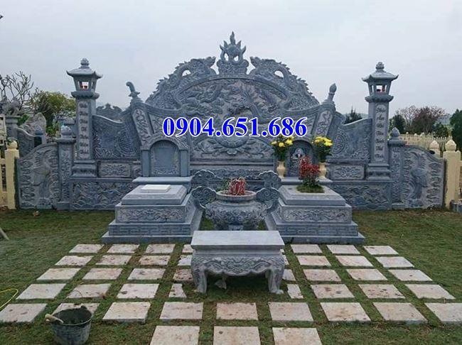 Mẫu mộ tổ đôi gia đình không mái đá khối tự nhiên đẹp