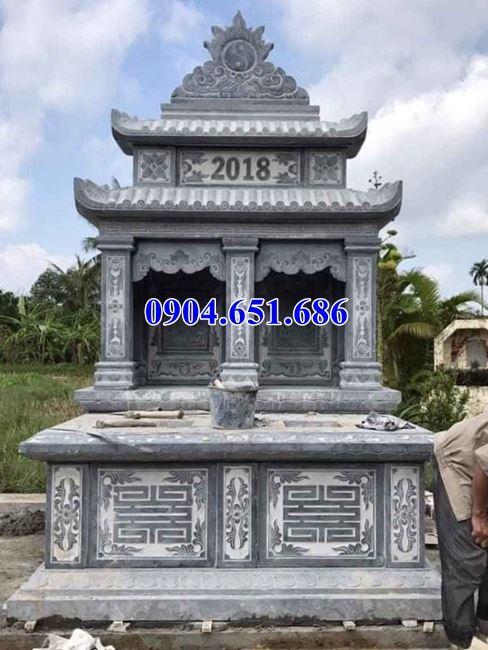 Mẫu thiết kế mộ đôi bằng đá khối tự nhiên đẹp