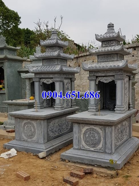 Thiết kế, Xây mộ đôi đá khối tự nhiên đẹp ở Điện Biên