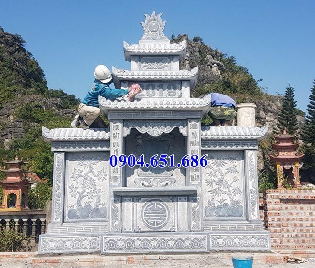 Mẫu lăng mộ đá xanh đen Thanh Hóa thiết kế hai mái