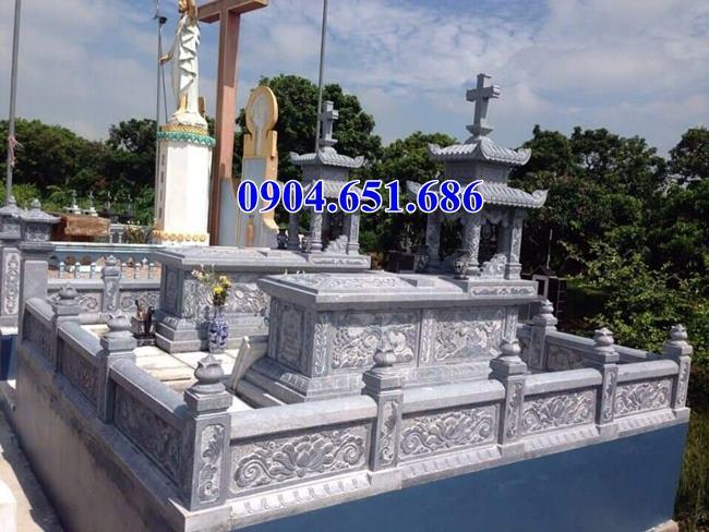 Mẫu mộ đôi công giáo đá xanh Thanh Hóa đẹp