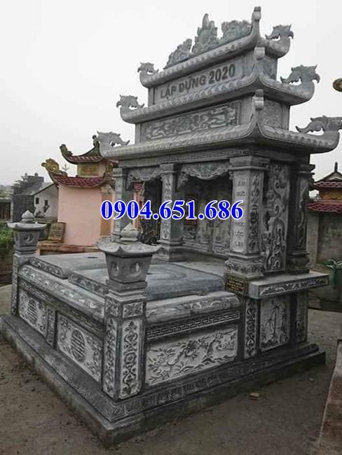 Mẫu mộ đá đôi gia đình bán tại Đắk Lắk 02 – Mộ đôi đá khối tự nhiên