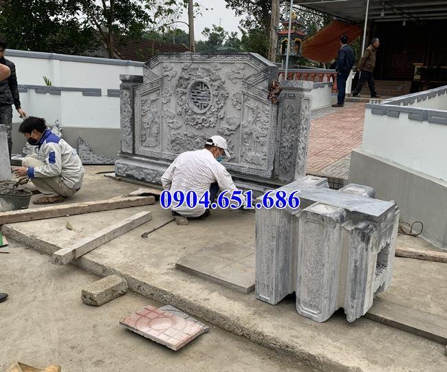 Lắp đặt Cuốn thư, bình phong đá nhà thờ họ tại Anh Sơn Nghệ An