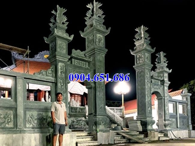 Mẫu cổng tam quan nhà thờ họ đá xanh rêu đẹp bán tại Bình Định