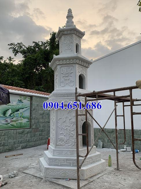 Hình ảnh lắp đặt mộ tháp phật giáo đá trắng đẹp để hũ tro cốt