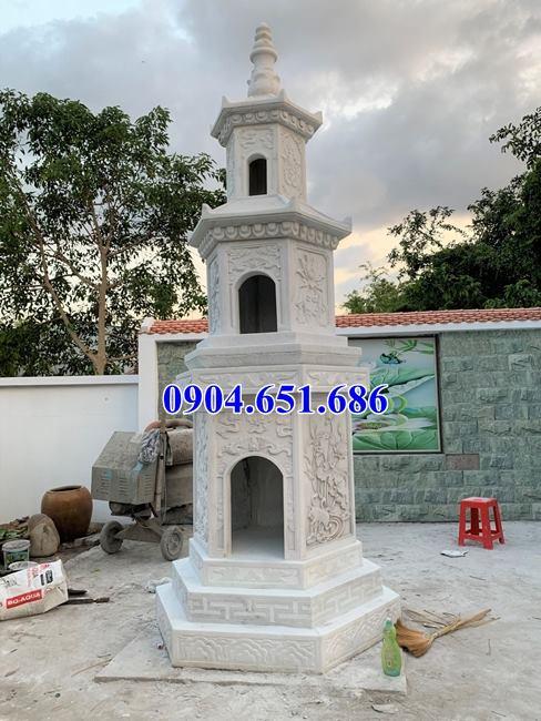 Hình ảnh mẫu mộ tháp để hũ tro cốt xây bằng đá trắng đẹp tại Bạc Liêu