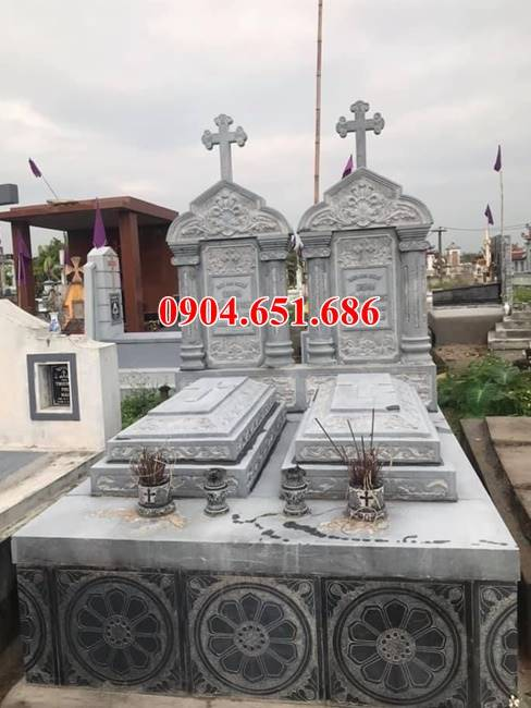 Mẫu mộ đôi gia đình được thiết kế chuẩn kiến trúc tâm linh